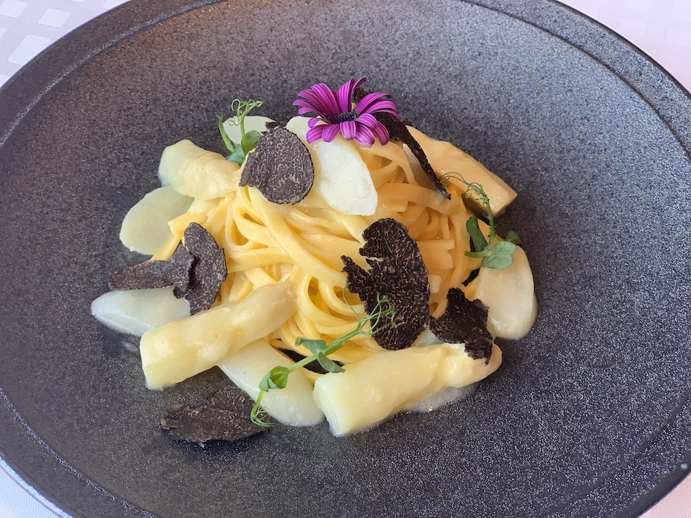 Angelini's Tagliatelle with White Asparagus, Black Truffle and Parmesan (photo courtesy of Angelini)