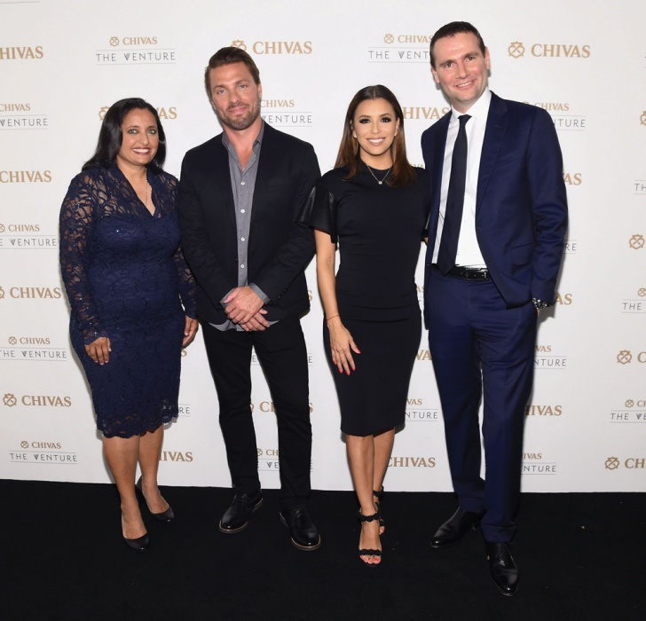 The Venture's judges were, from left, economist Sonal Shah, LSTN Sound founder Joe Huff, actress Eva Longoria, Pernod Ricard chief executive Alexandre Ricard