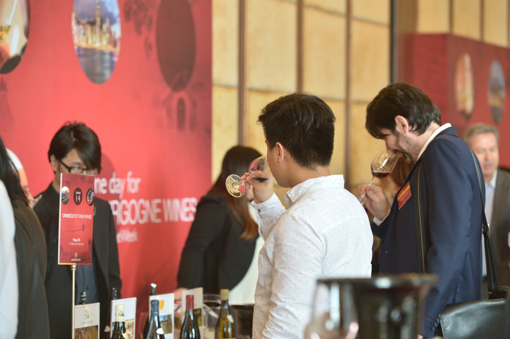 Guests sample the region's wines at Bourgogne Wines Week