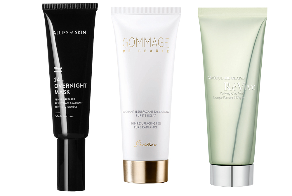 IA Overnight Mask from Allies of Skin at Net-a-Porter, Gommage de Beauté cleanser from Guerlain and Masque De Glais from RéVive