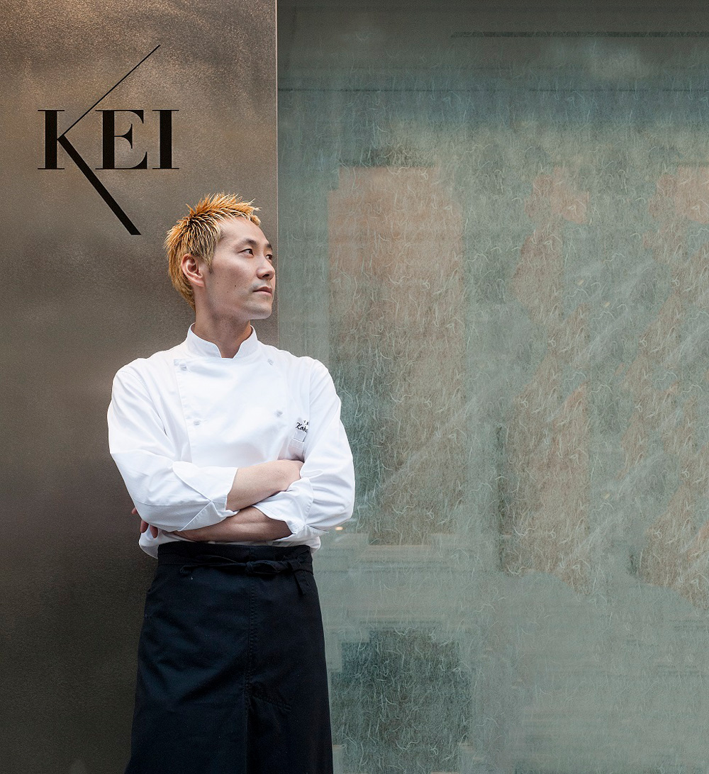 Japanese chef Kobayashi Kei outside his Parisian restaurant