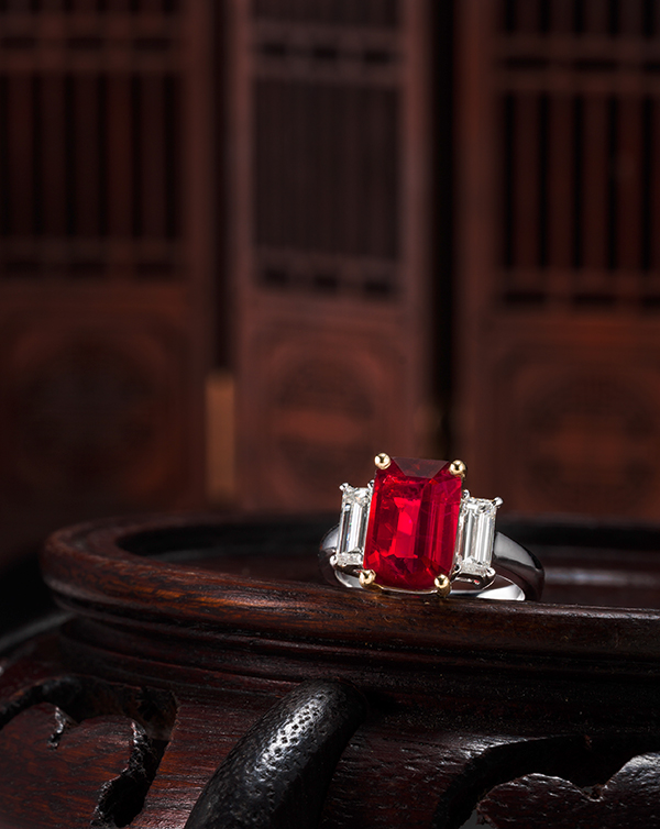 An exceptional 4-carat 'Pigeon Blood' Burmese ruby and diamond ring