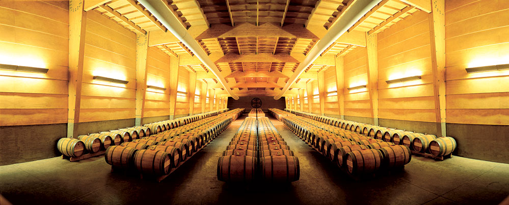 The architecture of Almaviva's barrel room replicates the perspective of looking out to the vineyards