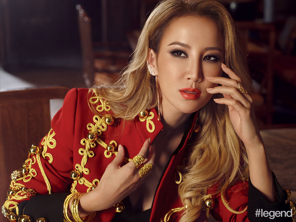 CoCo Lee wears jacket by Dolce & Gabbana and jewellery by Sunfeel