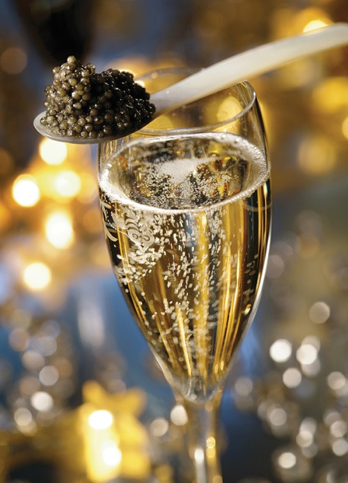 Champagne and caviar are a popular match