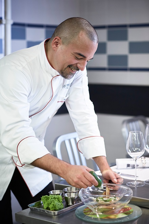 Chef Xavier Boyer plating up at the Chef's Table