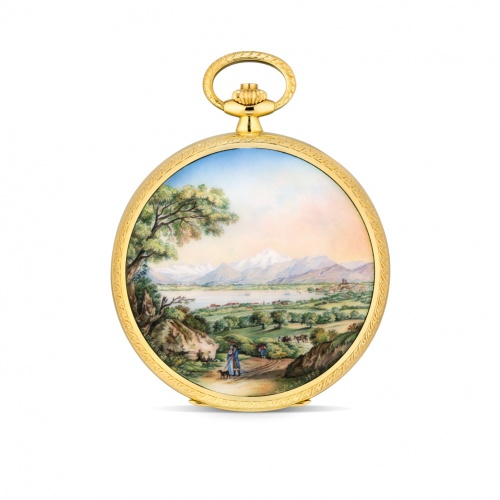 A unique Patek Philippe hunter pocket watch with enamel miniature, painted by Suzanne Rohr after a painting by Jean-Baptise Arnout (1788-1865)