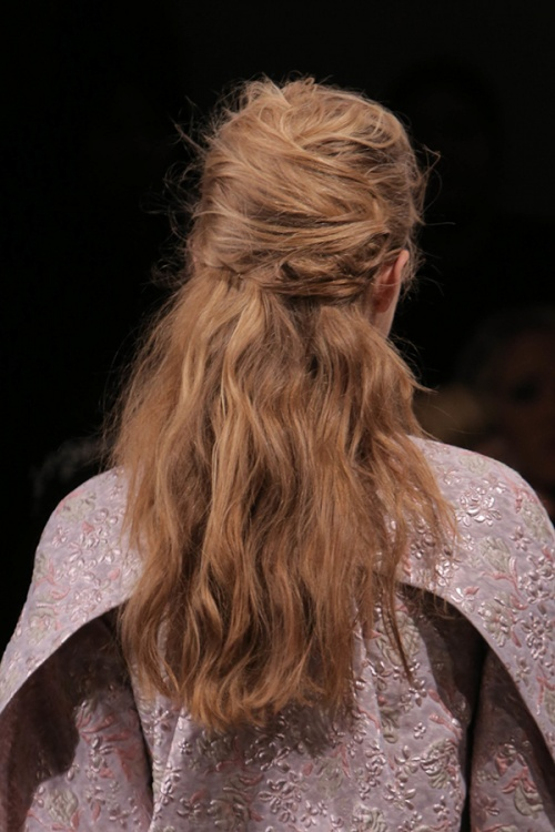 Romantic and carefree hairstyles on the Zac Posen runway (Photo by Jason Carter Rinaldi)