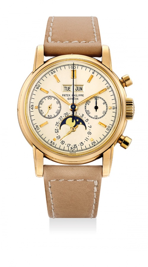 Lot 368 , Patek Philippe. A very rare and possibly unique pink gold perpetual calendar chronograph wristwatch with moon phases, ref 2499