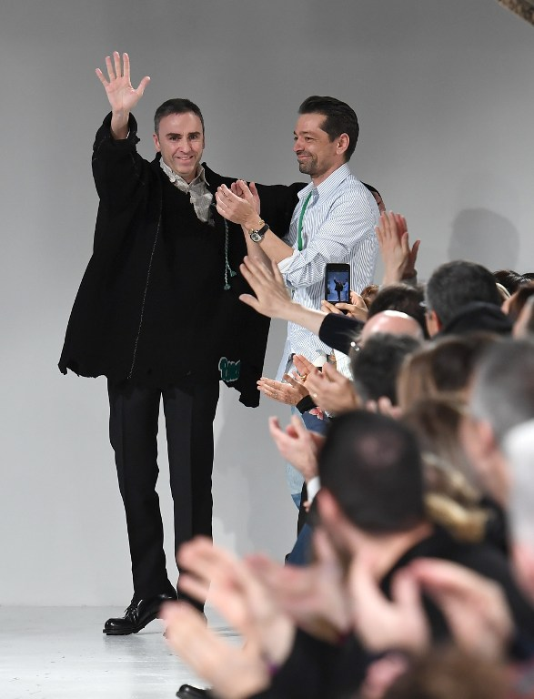 Raf Simons and Pieter Mulier at the Calvin Klein show (Photo by Angela Weiss / AFP)