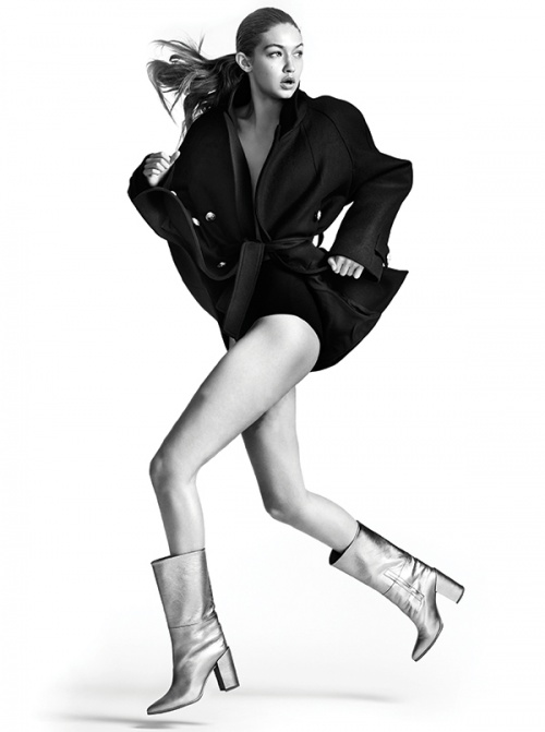 Gigi Hadid wears The Straighten Boot from this season's collection (Photo by Mario Testino)