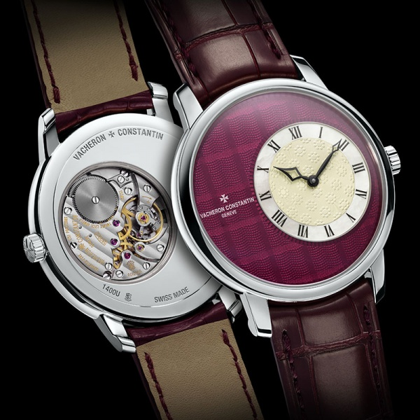 "The Vacheron Constantin ""Métiers d'Art Elégance Sartoriale"" watch with a Prince of Wales check pattern finished in translucent raspberry red Grand Feu enamel"