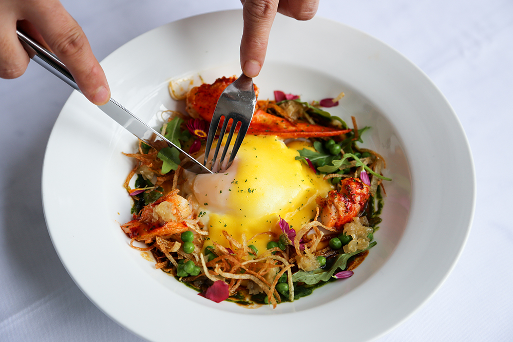 Egg with Lobster, White Beans Ragout and Wild Mushrooms from Fofo by el Willy