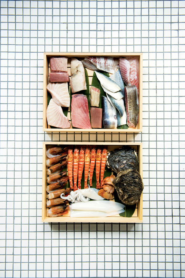 A selection of house aged seafood (photo by Jason Lang)