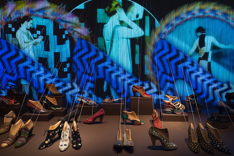 1930s shoes on display at 'Across Art and Fashion,' at Museo Salvatore Ferragamo, Hall 1, photo by Guglielmo de' Micheli (Credit: Guglielmo de' Micheli / Museo Salvatore Ferragamo)