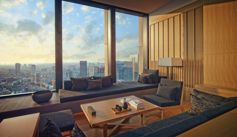 The premier living area at Aman Tokyo, Japan
