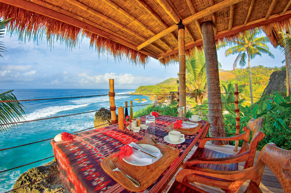 Enjoy lunch at Nihi Oka in your private open-air pavilion overlooking the ocean