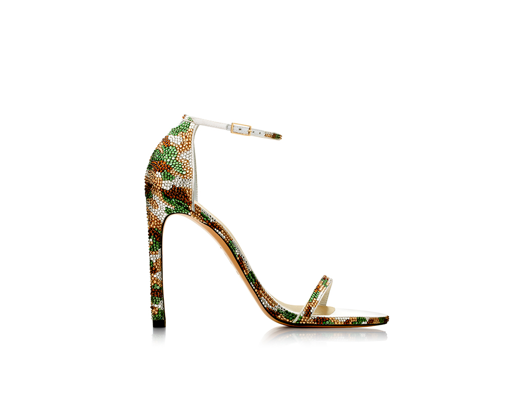Pavé Nudist sandals in a camouflage pattern