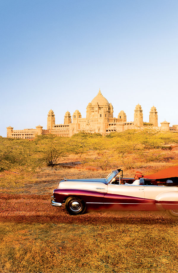 Rolling up to the Umaid Bhawan Palace in the city of Jodhpur