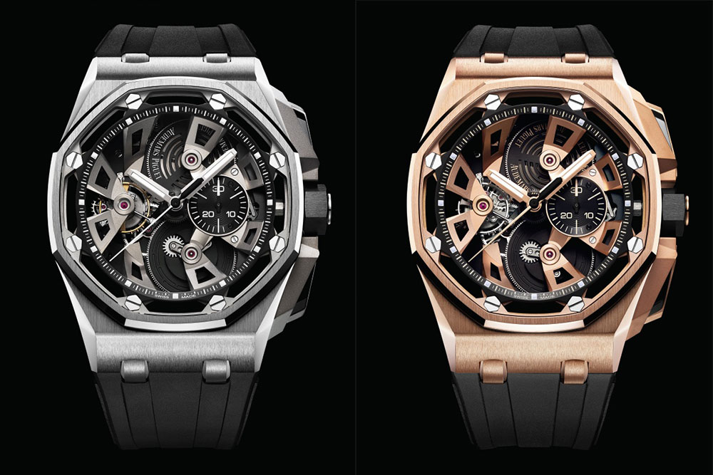 The Royal Oak Offshore Tourbillon Chronograph in stainless steel (left) and pink gold (right)