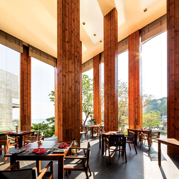 The light-filled restaurant at The Naka, designed by Bunnag