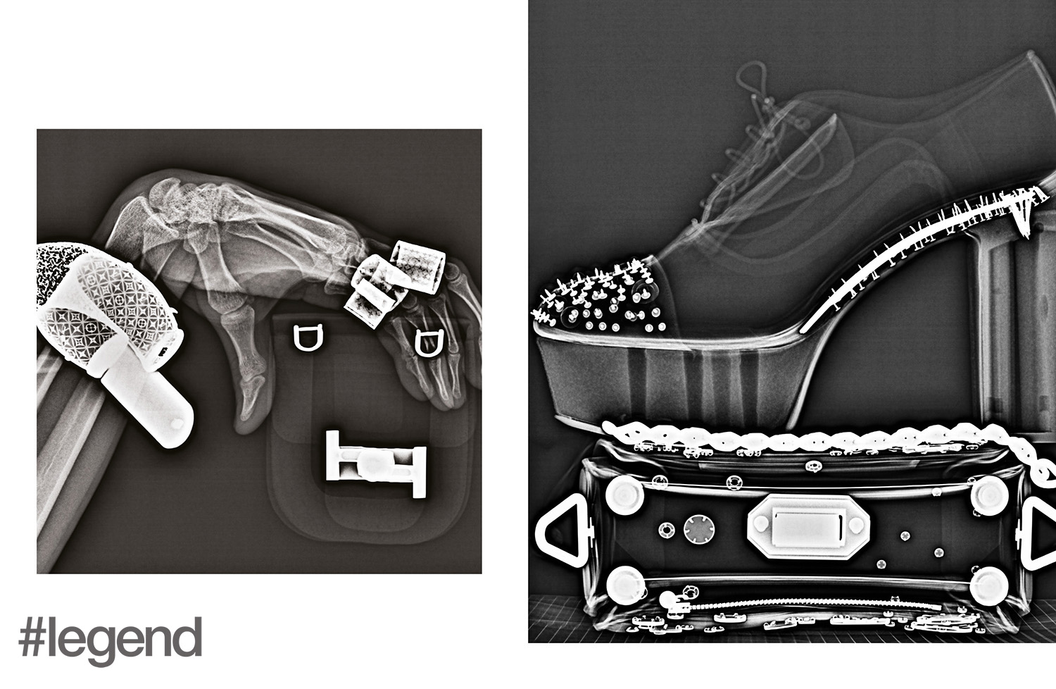 LEFT: Bracelet and rings_ Louis Vuitton | Pouch_ Tod's; RIGHT: Shoes_ Christian Louboutin | Bag_ Alexander McQueen