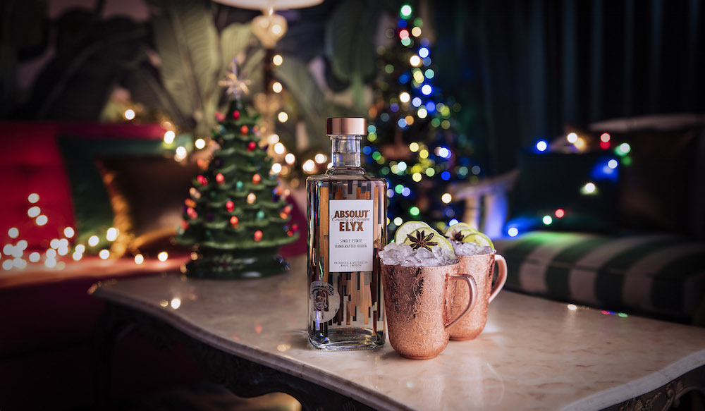 Copper mule cup with 1 litre bottle