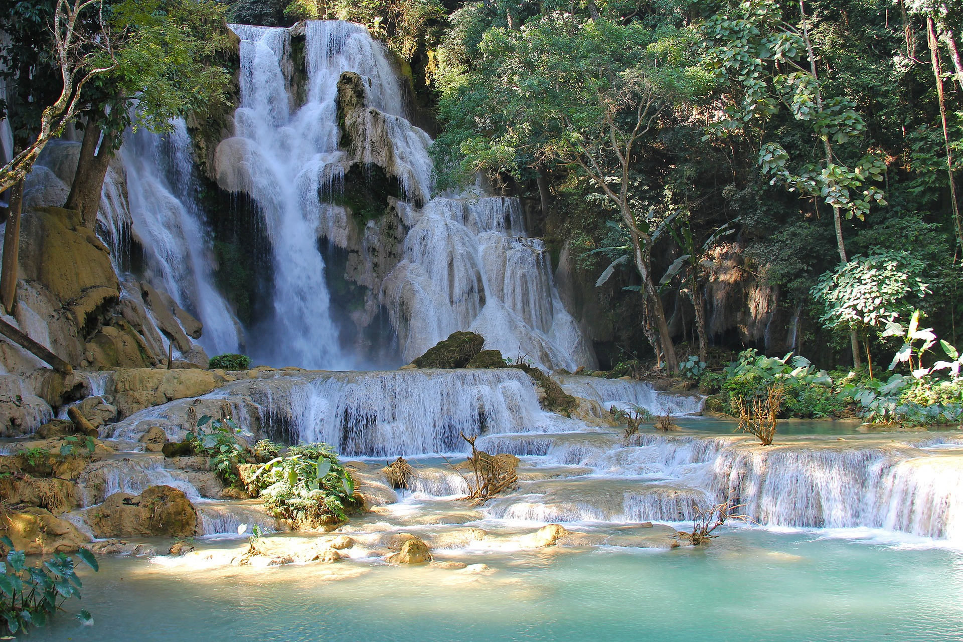 The Kuang Si Falls are known for their beautiful blue water, half of the year