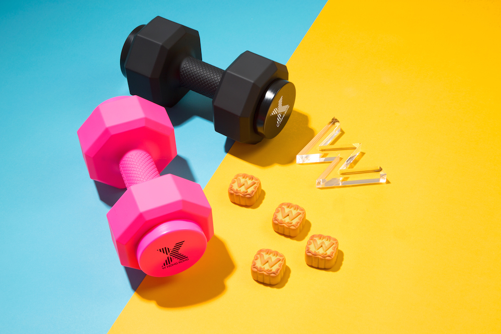 The limited X edition mooncake in hardcore dumbbells packaging