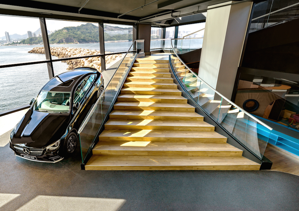 Mercedes-Benz's Brand Centre showroom grand staircase