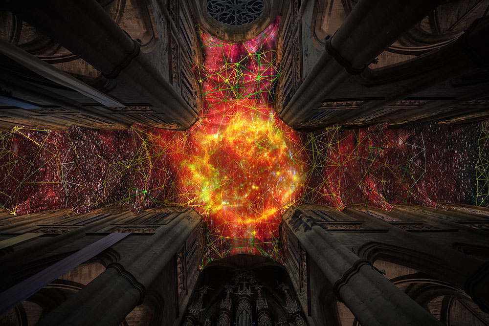 A digital supernova installed in the vaults of Rodez Cathedral; photo: urdesignmag