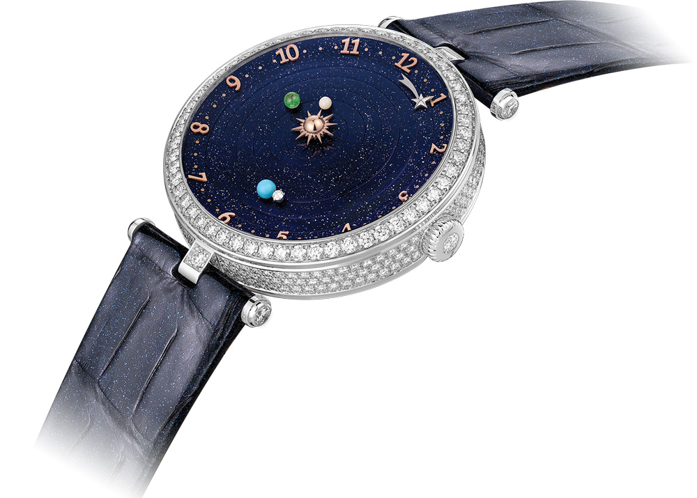 Lady Arpels Planétarium with a glittering blue alligator strap