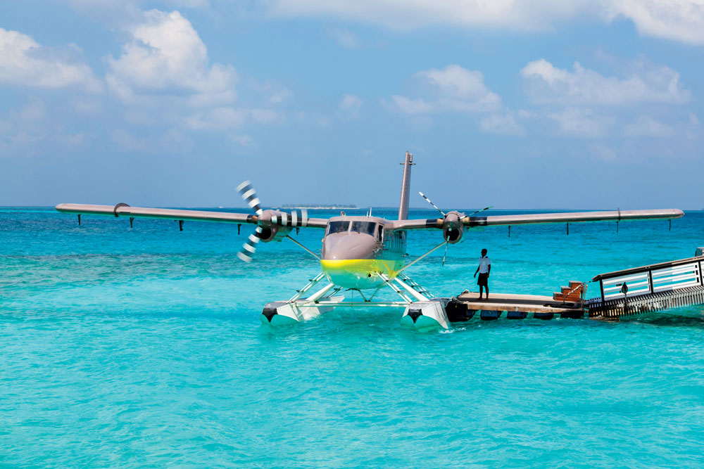Arrival by private seaplane