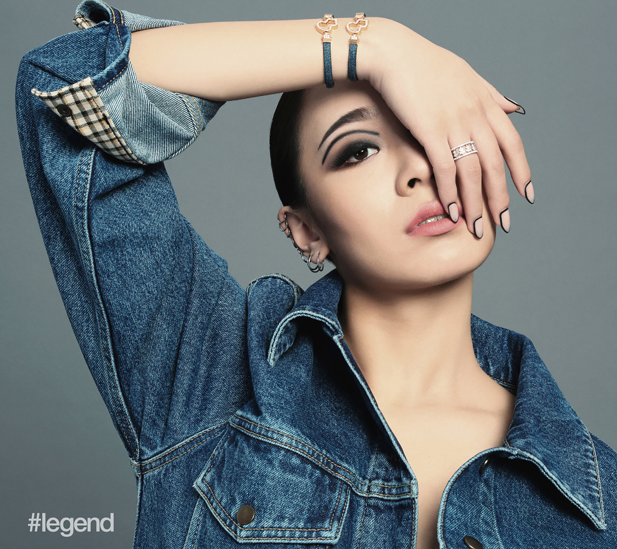 Harin Lee in Blue Denim Jacket