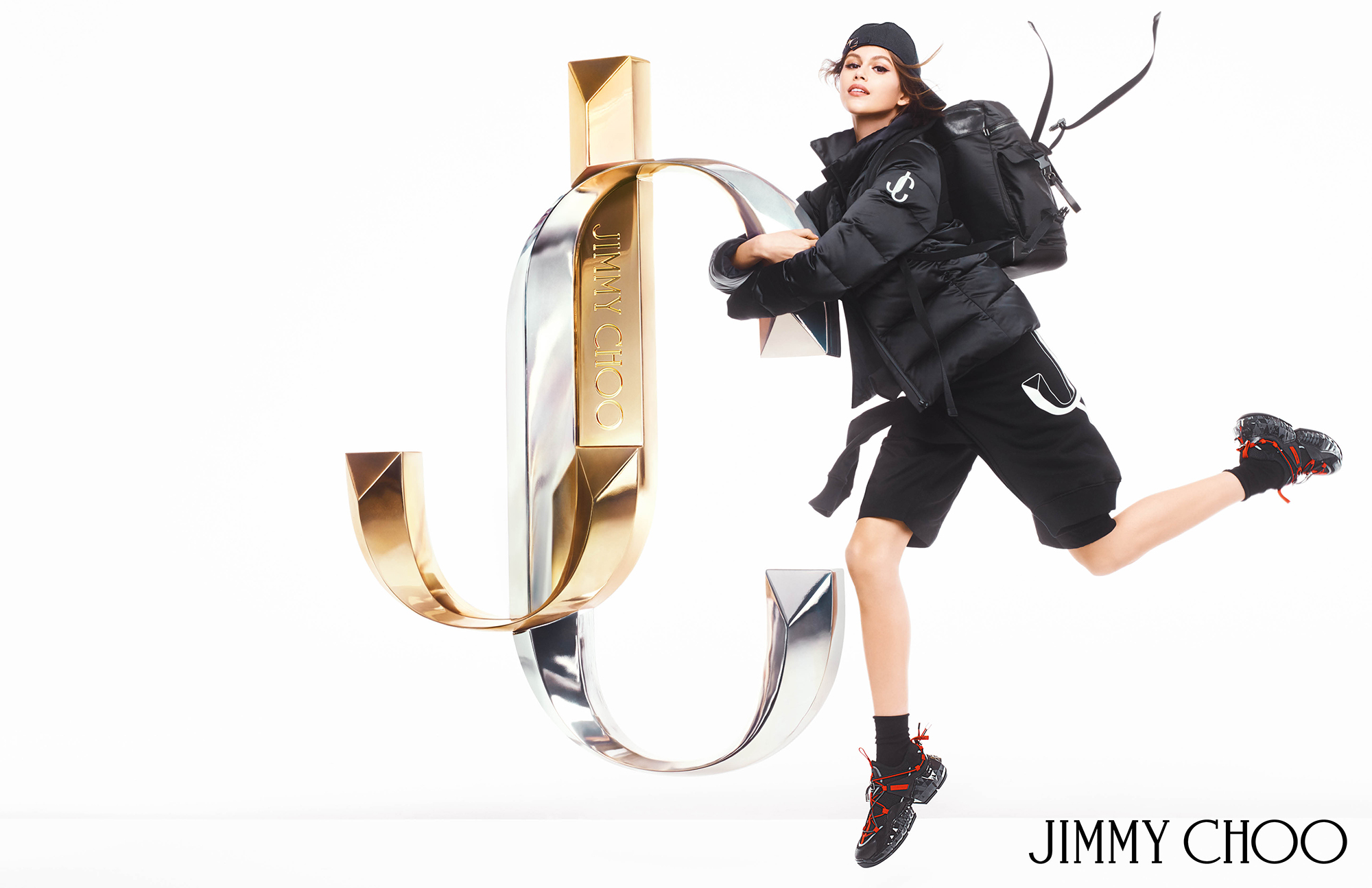 JIMMY CHOO AW19 CAMPAIGN WIXON BACKPACK DIAMOND TRAINERS JC PUFFER