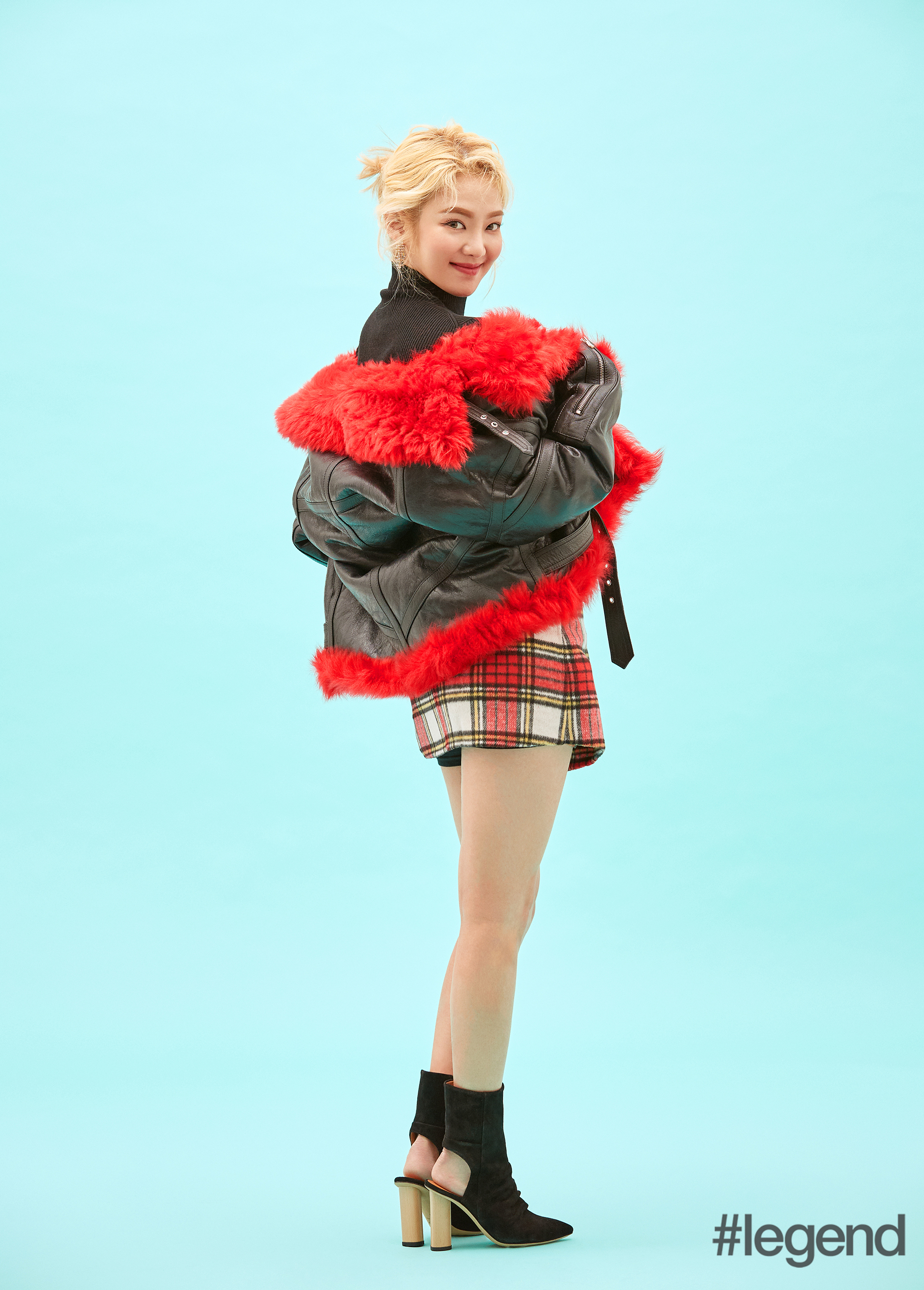 McQ-Shearling-coatBapy-knit-top-and-plaid-skirtIro-booties