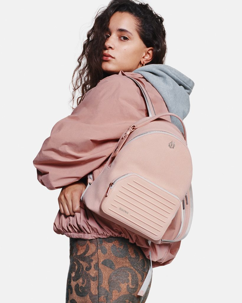RIMOWA Never Still lifestyle_Backpack Small Desert Rose